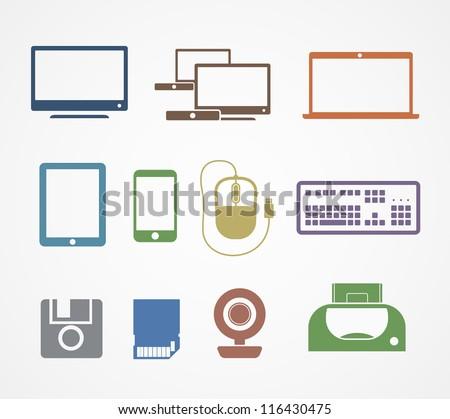 Digital stuff icons - stock vector
