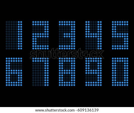 Digital table neon font with grid. Vector LED numbers