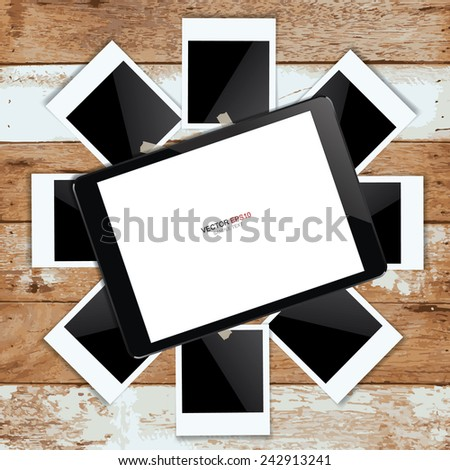 Digital tablet and blank photo frame on vintage wooden texture background. Vector illustration. - stock vector