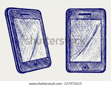 Digital tablet. Doodle style - stock vector