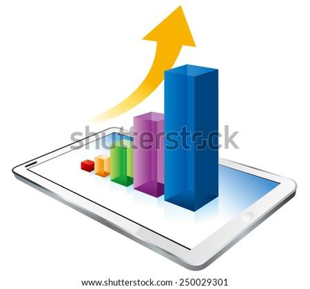 digital tablet graph Vector  - stock vector