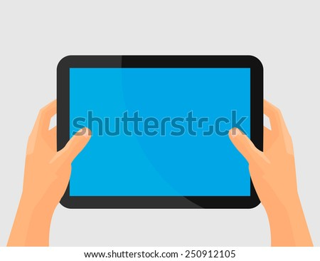 Digital tablet using with hands touching screen.Hands holing tablet computer with blank screen. Mobile devices technology concept. Vector illustration.Design element. - stock vector