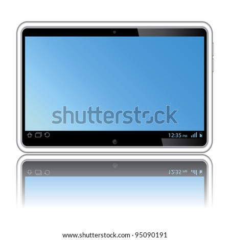 Digital tablet with blue screen. Isolated on white - stock vector