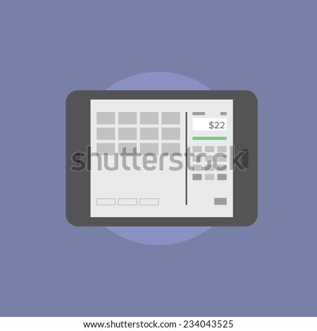 Digital tablet with online banking interface on a screen, financial information and internet bank account. Flat icon modern design style vector illustration concept. - stock vector