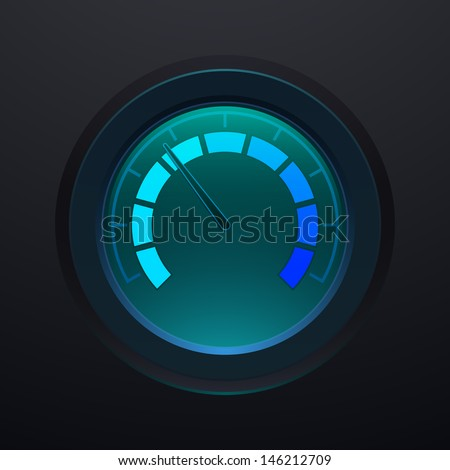 Digital tachometer, with cyan neon light, vector illustration - stock vector