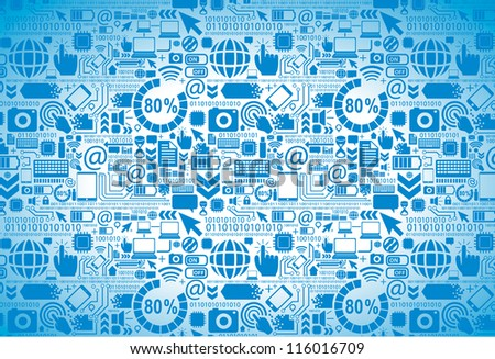 Digital texture - seamless tech pattern - stock vector