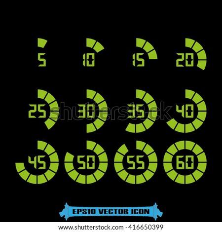 Digital timer icon vector. - stock vector