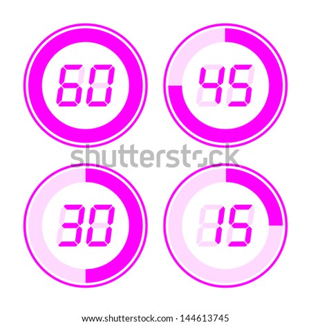 Digital timer. Pink on a white background. - stock vector