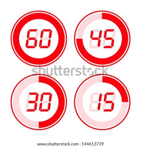 Digital timer. Red on white background. - stock vector