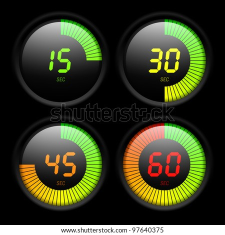 Digital timer. Vector. - stock vector