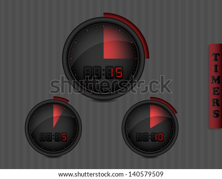 Digital Timers dark collection - stock vector