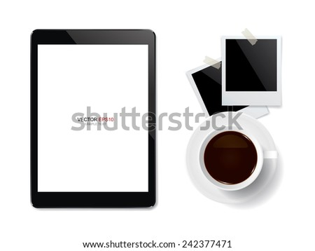 Digital Touch Screen Tablet Coffee Cup Stock Vector 242377471 ...