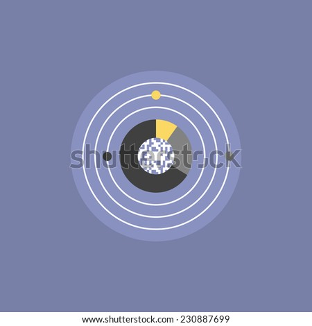 Digital universe and star system network, global communication technology, futuristic internet connection and big data innovation. Flat icon modern design style vector illustration concept. - stock vector