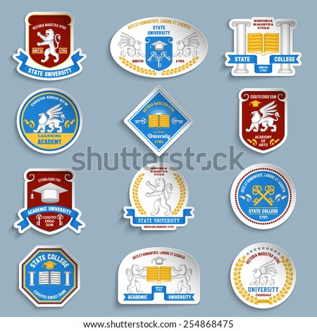 Digital university education badges pictogram collection with keys and academic hat demonstrating students accomplishments vector isolated illustration - stock vector