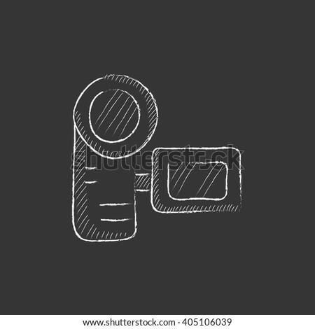 Digital video camera. Drawn in chalk icon. - stock vector