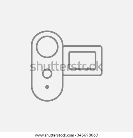 Digital video camera line icon for web, mobile and infographics. Vector dark grey icon isolated on light grey background.