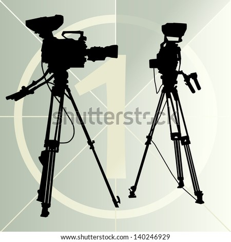 Digital video camera on the tripod and film countdown number - stock vector