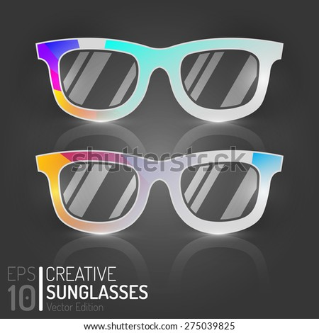 Digital Vintage Glasses Design. Vector Elements. Creative Isolated Retro Sunglasses Illustration. EPS10 - stock vector