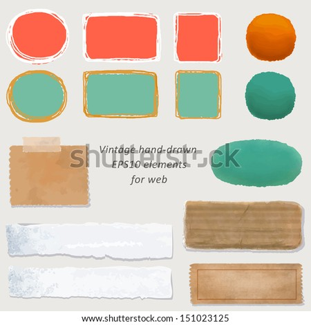 digital vintage paper and hand-drawn web button kit: old paper - different aged paper objects for your layouts - stock vector