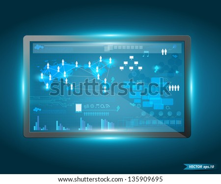 Digital vurtual screen interface, Technology business concept network information process diagram, Vector illustration modern template design - stock vector