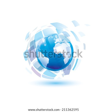 digital world, abstract vector symbol, technology concept - stock vector