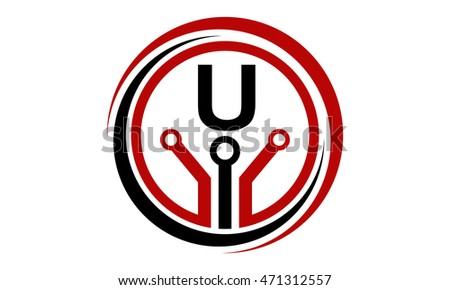Digital World Electrical Connections Initial U Stock Photo (Photo ...