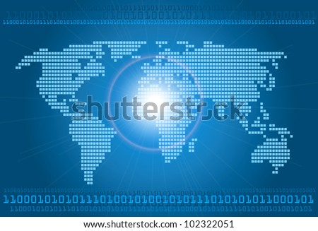 Digital world concept graphic, including digital map of the world, vector - stock vector