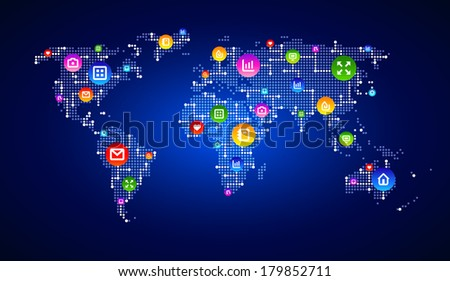 Digital world map circuit, symbolizing digital marketing, globalization, Hi tech, social media, connection and synchronization. Modern infographic template. Vector EPS 10  - stock vector