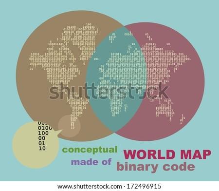 Digital World Map with binary code, flat design - stock vector