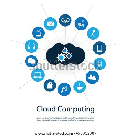 Digital World - Networks, IoT and Cloud Computing Concept Design with Icons - stock vector