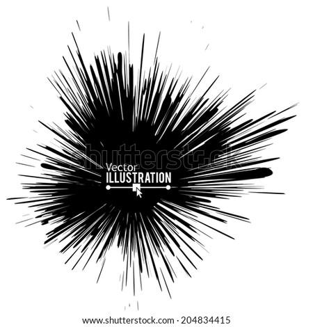 Digitally created ink explosion. Vector illustration. - stock vector