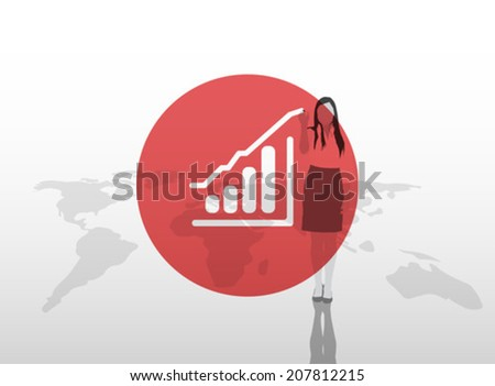 Digitally generated Businesswoman drawing graph on world map