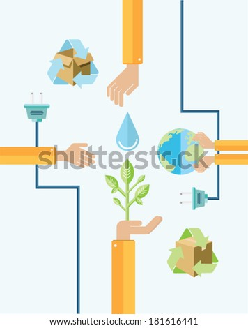 Digitally generated environmental awareness vector with hands - stock vector