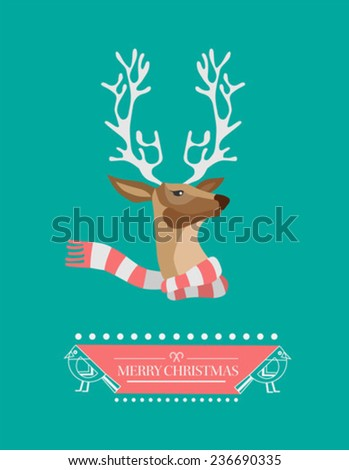 Digitally generated Festive reindeer with message vector