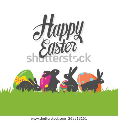Digitally generated Happy Easter greeting vector - stock vector