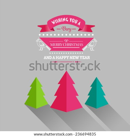 Digitally generated Merry christmas and happy new year vector with trees - stock vector
