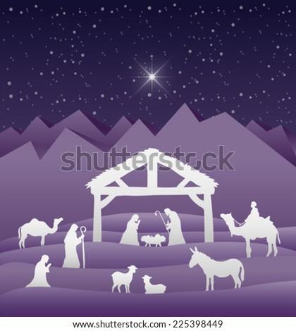 Digitally generated Nativity scene vector under starry sky - stock vector