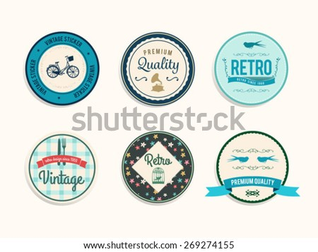 Digitally generated Retro styled retail badges vector - stock vector