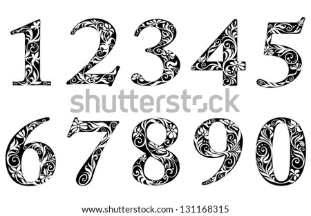 Digits and numbers set with floral elements in retro style. Jpeg (bitmap) version also available in gallery - stock vector