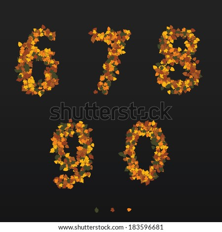 Digits made of fallen autumn leafs. 6, 7 , 8, 9, 0 - stock vector
