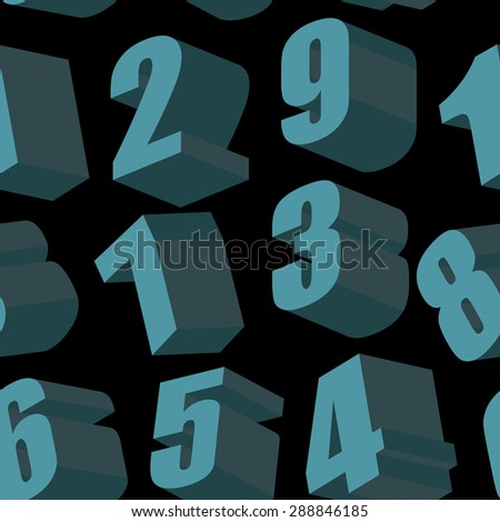 Digits on black background. Vector seamless pattern - stock vector