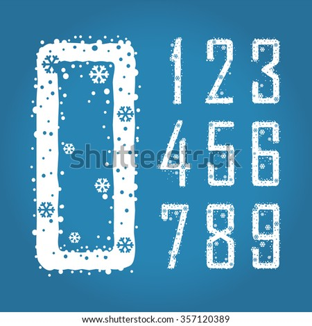 Digits with snowflakes and snow. eps 8. Set. Zero 0 One 1 Two 2 Three 3 Four 4 Five 5 Six 6 Seven 7 eight 8 nine 9. - stock vector