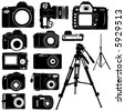 dijital photo camera and tripod vector - stock vector