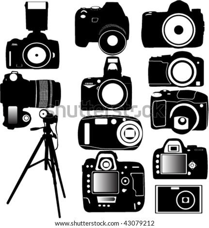 dijital photo camera and tripod vector - stock vector