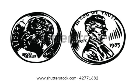 dime and penny - stock vector
