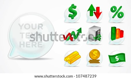 dimensional bubble talk with monetary element icon - stock vector