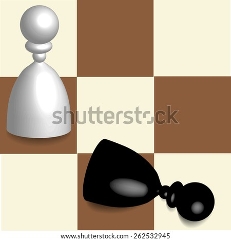 dimensional chess on board - stock vector