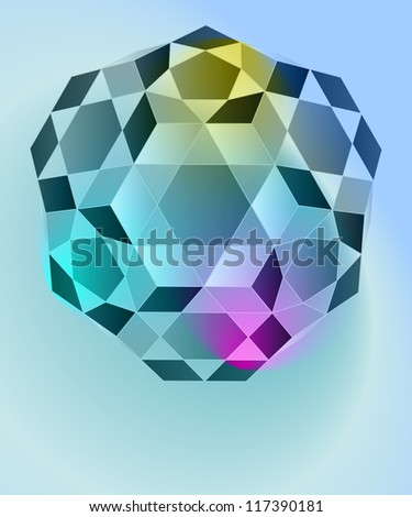 dimensional crystal shape blue card vector template - stock vector