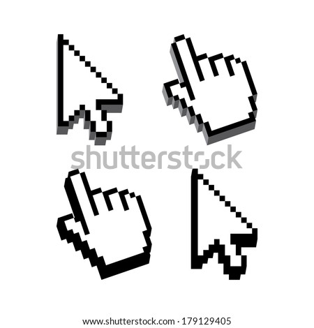 Dimensional Shape Cursor set - stock vector