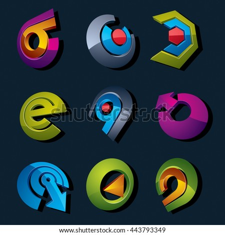 Dimensional vector app buttons. Collection of arrows, direction icons and different business corporate graphic symbols. - stock vector